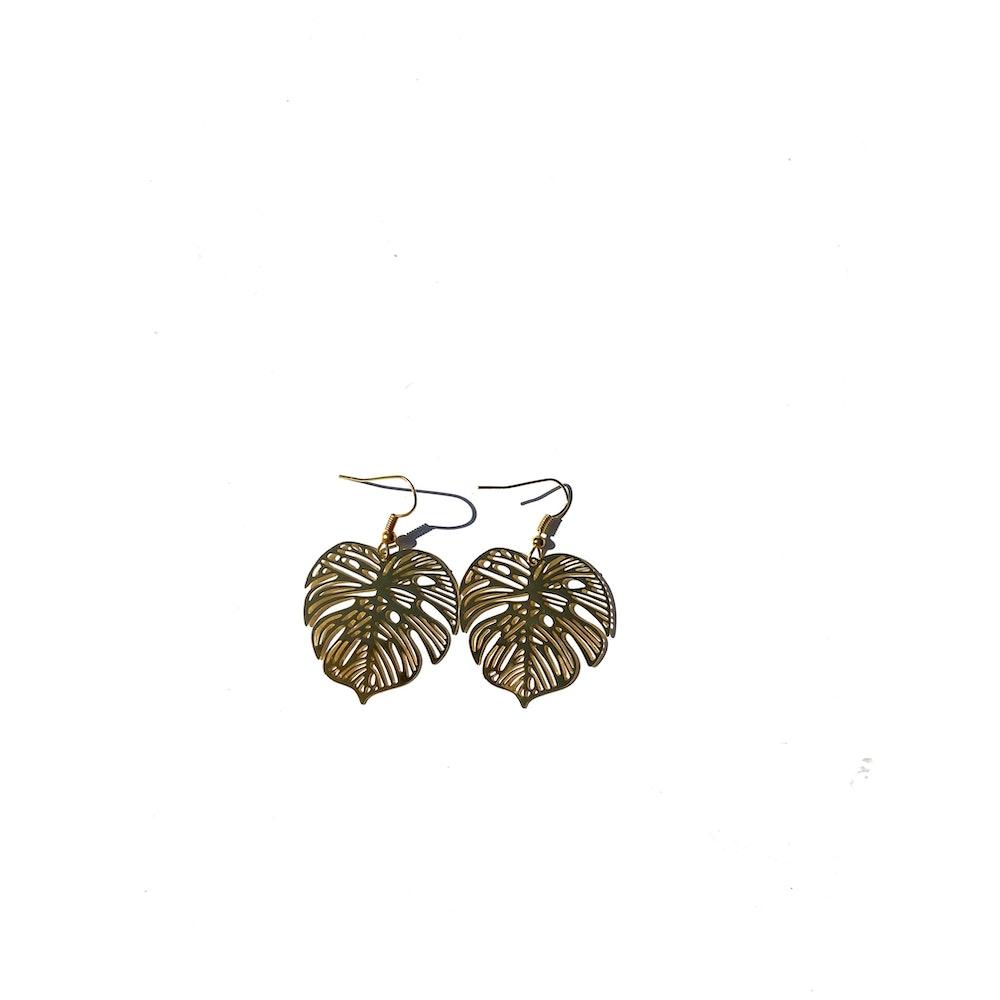 One of a Kind Club Monstera Delicate Bohemian Leaf Dangle - Gold