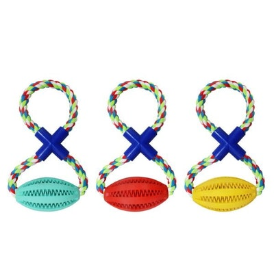 DoggyTopia Enrichment Treat Football Rope Tug Toy