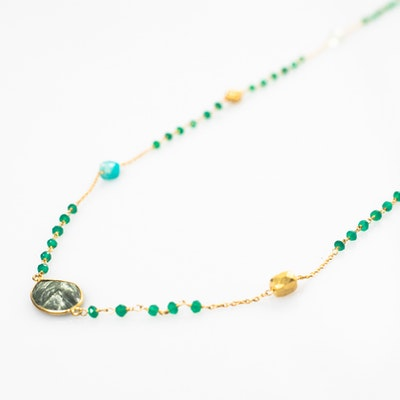 I Dream of Silver Gold-Plated and Semi-precious Stone Metre-Long Necklace