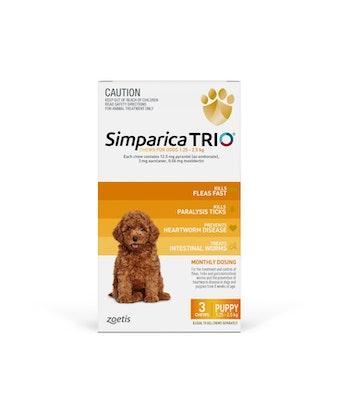 SIMPARICA TRIO Yellow Flea, Tick & Worm Chews 1.3-2.5kg 3 Pack