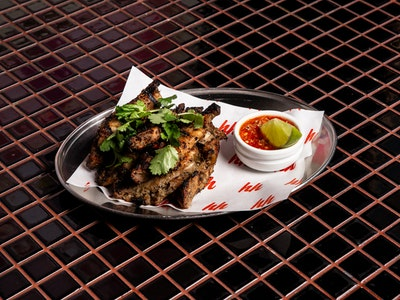 Grilled Chicken Ribs, Pickled chilli, Lime