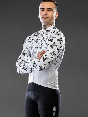 Hunter Bros Cycling White Death Awaits Fade Long Sleeve Jersey