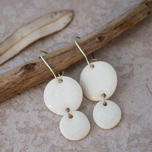Snowdrift White Pebble Porcelain Hook Earrings
