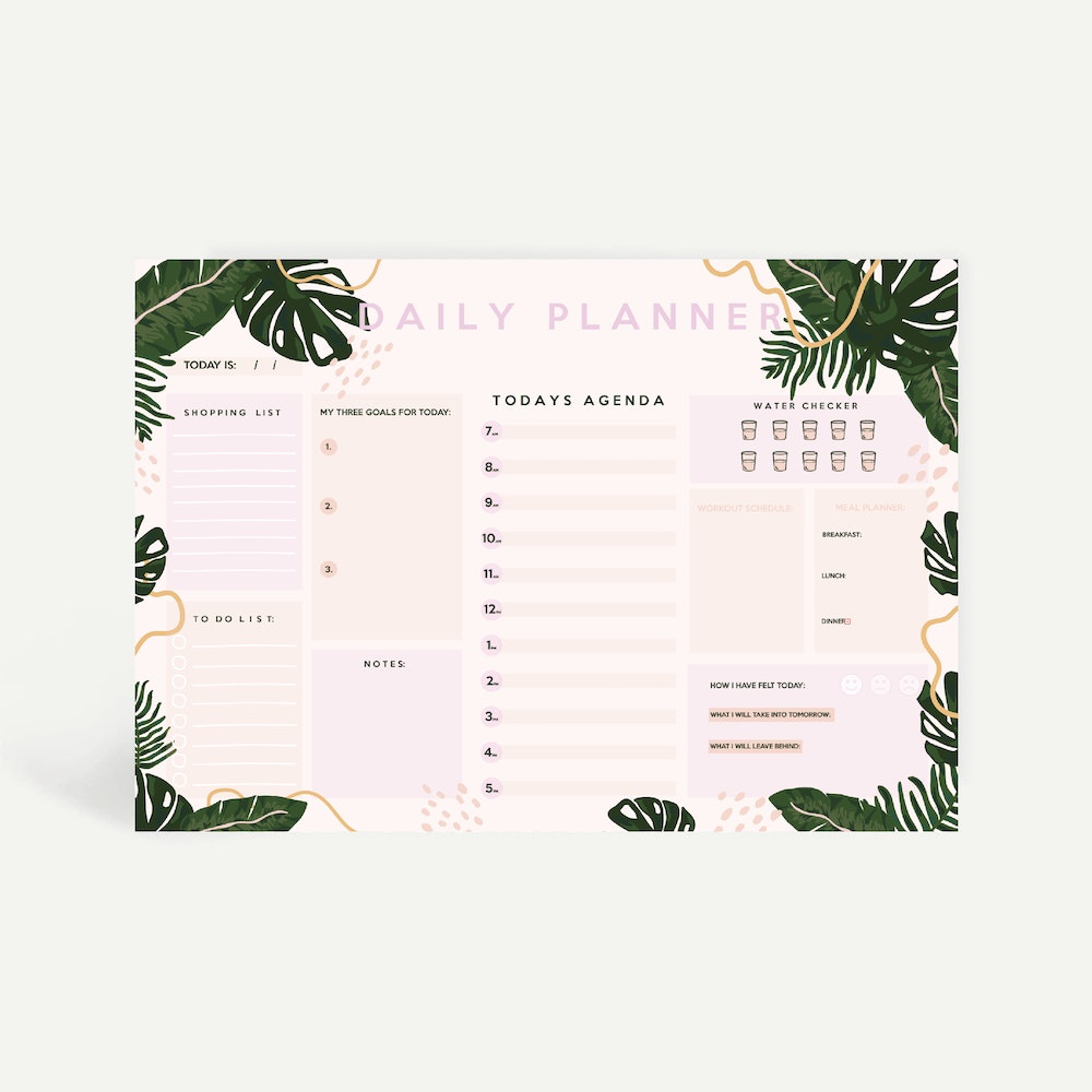 Brew Norfolk a4 daily planner with tropical design