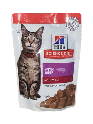 Hills Hill's Science Diet Adult Optimal Care Beef Cat Food pouches 85g