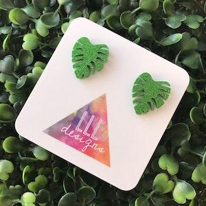 Glitter Green Monstera Studs - Liven up your lobes!