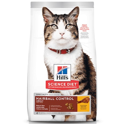 Hills Adult 1+ Hairball Control Dry Cat Food Chicken - 2 Sizes