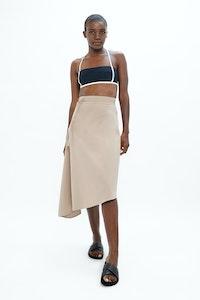 1 People Mallorca Organic Cotton Twill Asymmetric Skirt in Sand