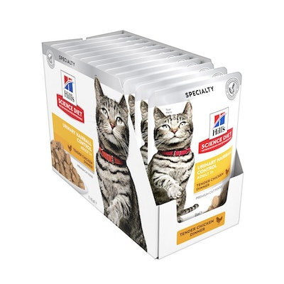 Hills Science Diet Feline Adult Urinary Hairball Control Chicken Cat Food Pouches 85G x 12
