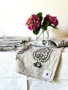 Set of two Vintage Print Linen Tea Towels