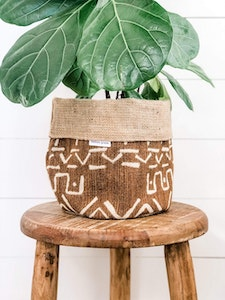 Pot Plant Cover - Bronzed Mudcloth and Hessian Reversible