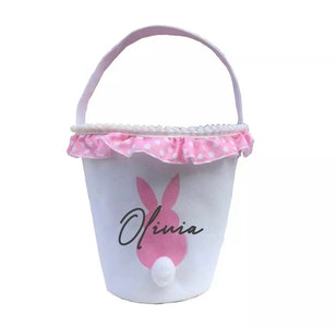 Personalised Bunny Tail Basket - Pink