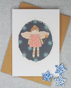 Holly & Bud Blank greeting card with illustrated Christmas Angel motif