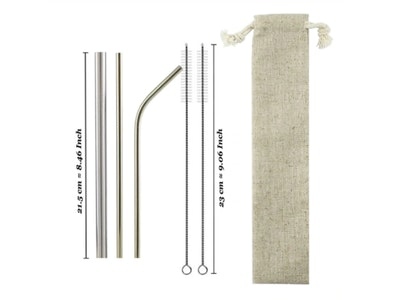 arōmaLEAF Stainless Steel Straw Set