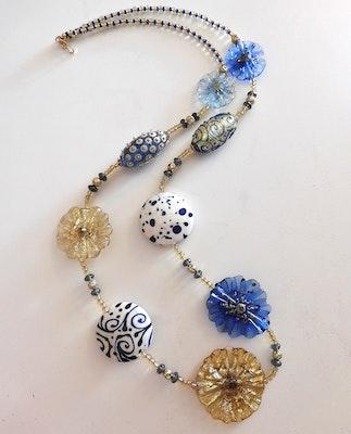 Beadoire Glass Lampwork Glass Necklace – 'Blue Bayou' 2020