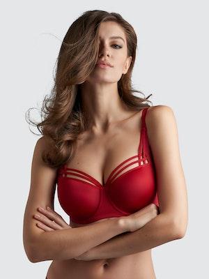 Dame De Paris Balconette Bra - Red