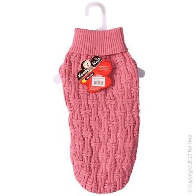 Pet One Dog Coat Komfy Knit Jumper Icelandic Dark Pink