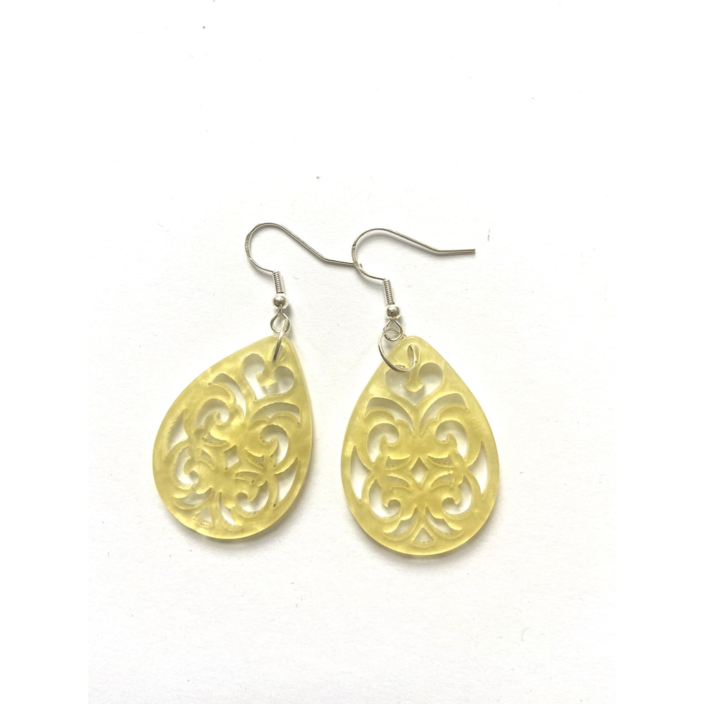 One of a Kind Club Yellow Tear Shaped Resin Earrings