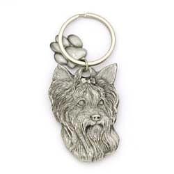Key Companions Solid Fine Pewter Yorkie dog with Paw Keychain