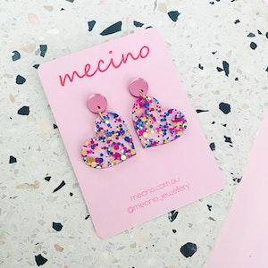 Elle Hearts - Blue / Pink Confetti Mix Acrylic Heart Earrings