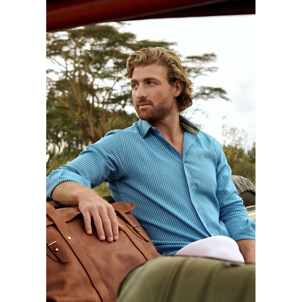 Koy Clothing Blue Striped Kenyan Kikoy Shirt