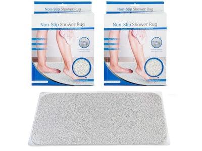 2x Anti Slip Loofah Shower Rug Non Slip Bathroom Bath Mat Carpet Water Drains