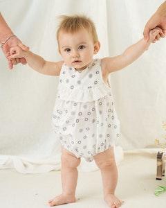 Certified Organic Cotton Sweetheart Baby Girl Romper