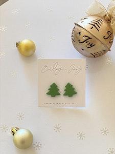 Green Christmas Tree Studs