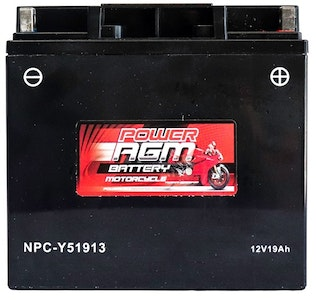 Power AGM 12V 19AH 315CCAs Motorcycle Battery