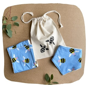 Bee Bib and Burp Cloth Bundle - Blue