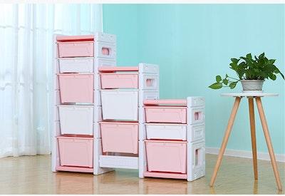 All 4 Kids Kids Room Multi Tier Bins Storage Unit Toy Box - Pink