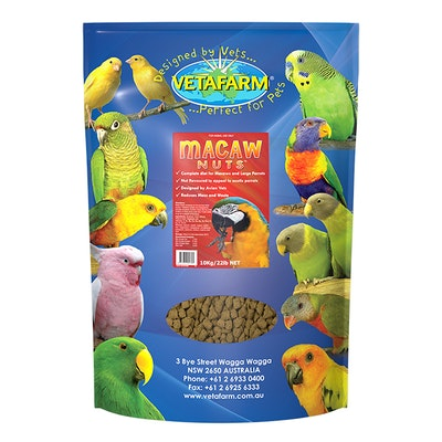 Vetafarm Macaw Nuts Extruded Pellet Diet for South American Parrots - 2 Sizes