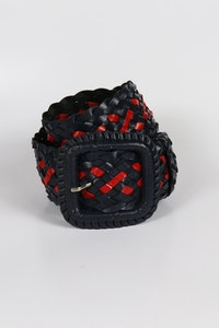 Hitchley & Harrow Leather Plaited Belt - Navy and Red