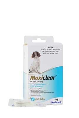 MOXICLEAR Flea & Worming Spot Treatment 10-25kg Dog 6 Pack