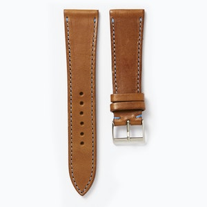 Time+Tide Watches  Tan + Blue Stitch Vintage Leather Strap