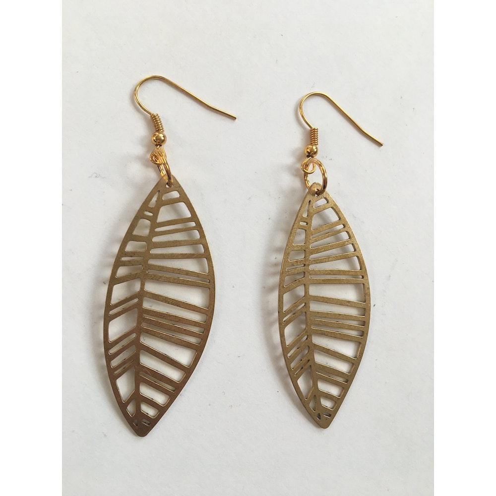 One of a Kind Club Leaf Brass Earrings