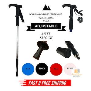 Folding Walking Stick Telescopic Adjustable Antishock Hiking Grip Pole Trekking