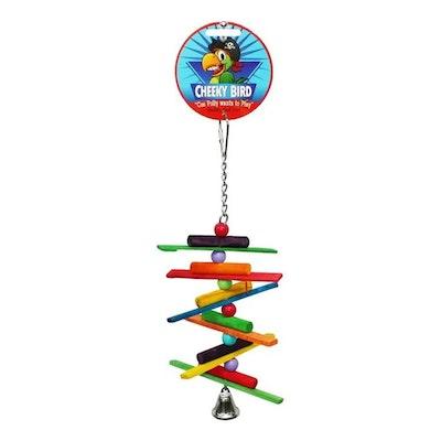 Cheeky Bird Spiral Sticks Hanging Wooden Bird Toy w/ Bell Small