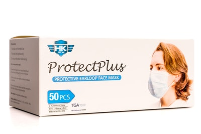 HK - STW 50 x HKSTW ProtectPlus Disposable Earloop Face Masks ARTG #343444 New Packaging