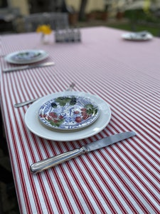 Red Ticking 3m Tablecloth