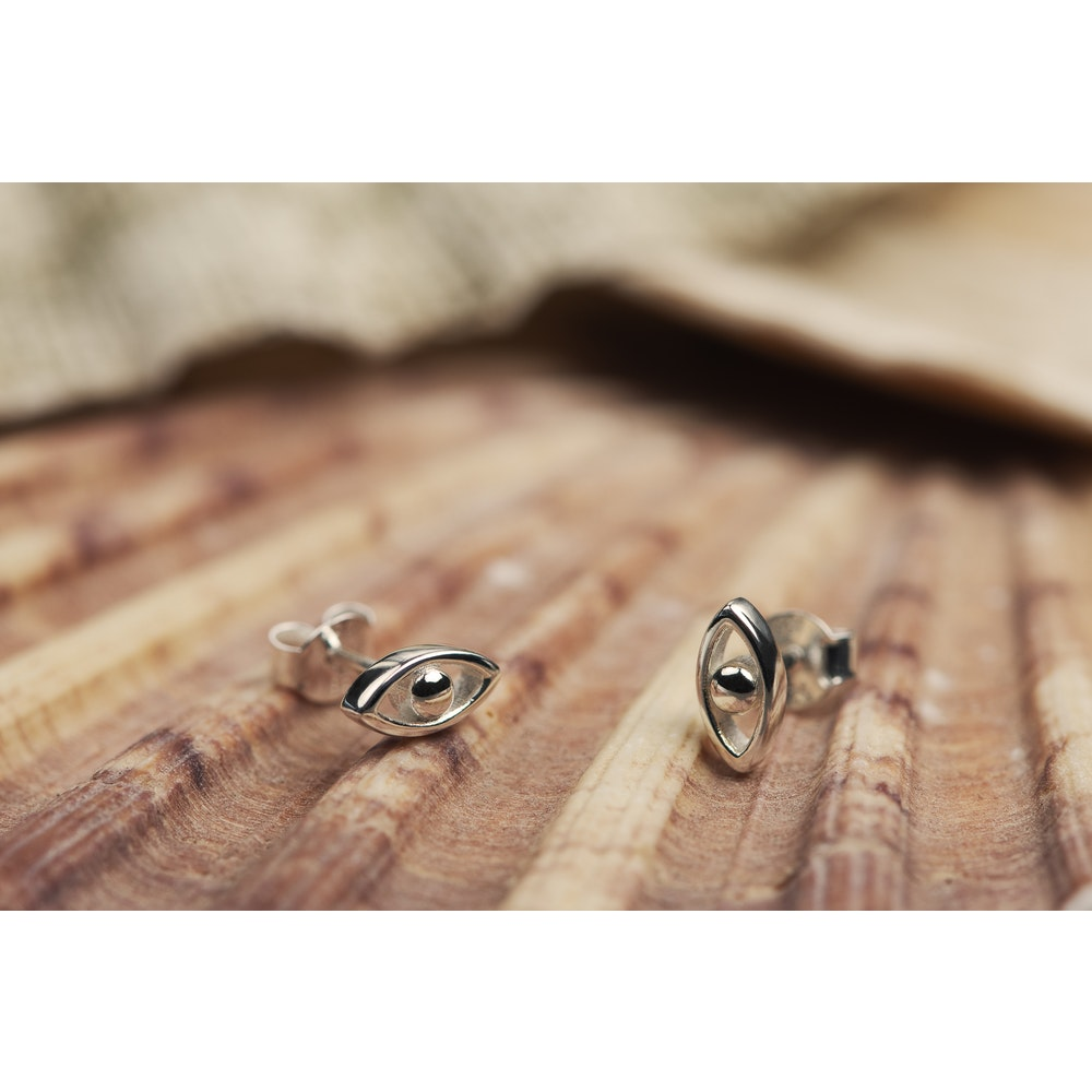 Jessica Alice Jewellery Sterling Silver Evil Eye Earrings