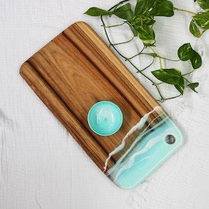 Aqua Ocean Spray Resin Cheese Board with Bowl - Medium