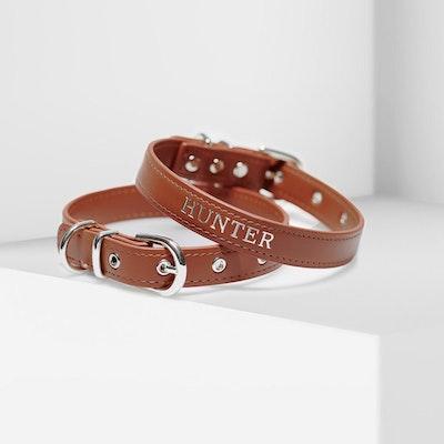 Petzy Luxe Brown - Premium Personalised Pet Collar (Silver)