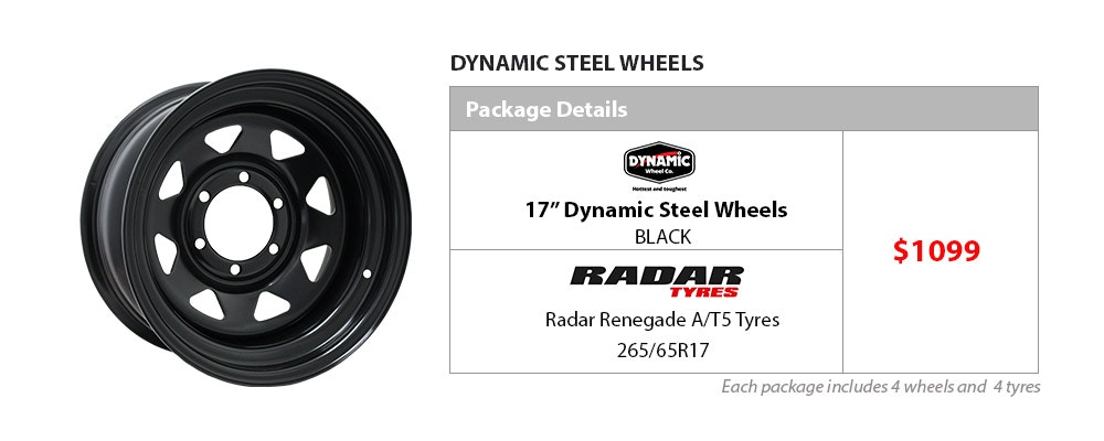 "17"" Dynamic Wheel and Tyre Package $1099"