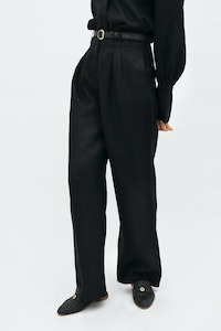 1 People French Riviera Linen Wide Leg Pants in Licorice Black