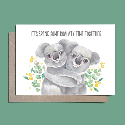 Watercolour by Cat Watercolour Australian Koala greeting card // Let's spend some koalaty time together // Love card
