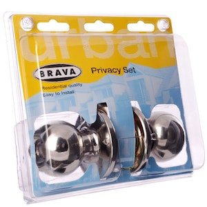 Brava Urban BRT3310DP series domestic grade privacy knob set in polished stainless steel finish