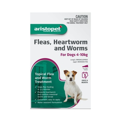 Aristopet Animal Health Fleas, Heartworm And Worms For Dogs 4-10Kg (6 packs)