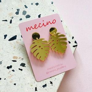 Monstera Leaf Earrings - Mirrored Gold Acrylic Earrings
