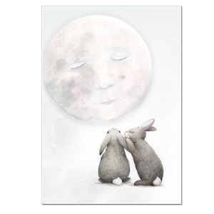 Moon Bunny Print - A3